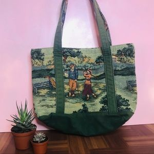 Vintage Retro 90's Golf Tapestry Open Tote Bag